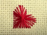 Embroider heart with tension stitches